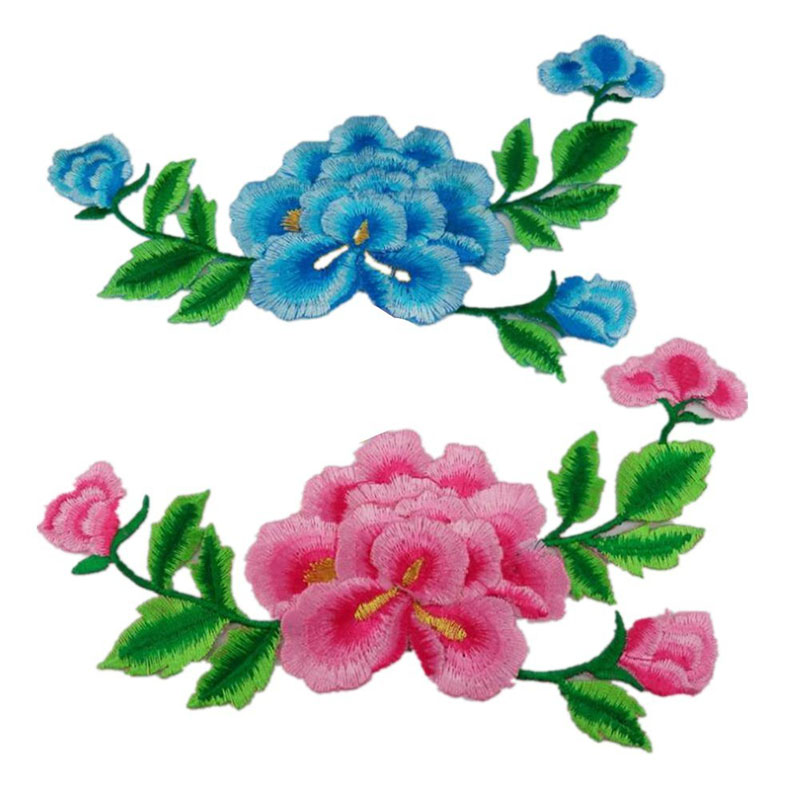 Chinese Peony Sew Iron On Applique Embroidered Patches