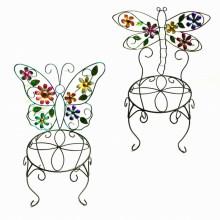 2 Asst Garden Decoration Metal Chair Flowerpot Stand Craft