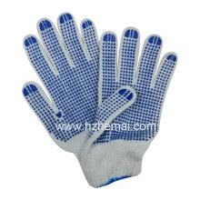 Luvas de malha de algodão malha Luvas de trabalho de segurança azul malha PVC