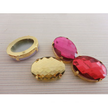Flach zurück ovale Form Glas Kristall Perlen Schmuck