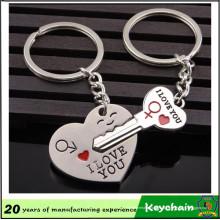 Coração de metal e forma chave par Keychain