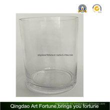 Vaso de vidrio cilíndrico con diferentes tamaños
