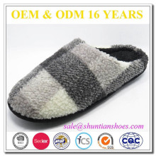 PLAID MICRO SUEDE and check fabric material MEN SLIPPERS