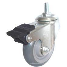 Roulette à tige filetée PU avec double frein (Gris)