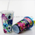 OEM Colorful Print Thermal-Protective Double Wall PS Straw Cup