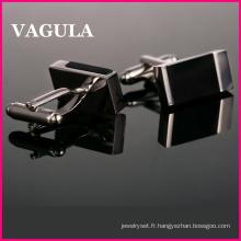 Boutons de manchettes VAGULA qualité Onyx argent (HL10182)