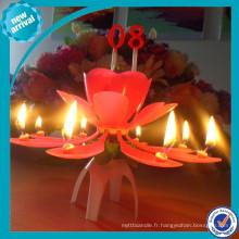 Bougie d'anniversaire de fleur rose / musique automatique avec niveau tournant