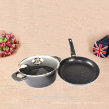 OEM estándar de fundición de aluminio recubrimiento de mármol pan y olla de sopa conjunto con tapa en olla de sopa