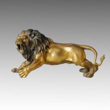 Tier Branze Skulptur Brüllen Löwe Carving Deco Messing Statue Tpal-035