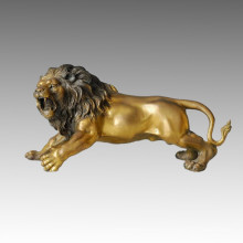 Animal Branze Sculpture Roar Lion Carving Deco Brass Statue Tpal-035