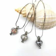 Heart Cage Pendant Silver Plated Pearl Pendant Necklace