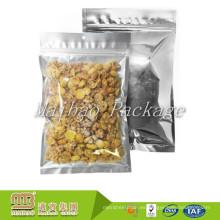 Bolsa de plástico de encargo del papel de aluminio de la cerradura de la cremallera del sello del calor de la categoría alimenticia de la impresión tres para el empaquetado secado de los alimentos