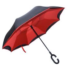 2017 heißer verkauf gedruckt logo reverse c form griff umgedrehten regenschirm