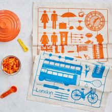 Höhe Auto Muster orange und blau Küchentuch Geschirrtuch TT-038