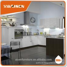 Moderno armario de cocina blanco y gris de PVC para uso doméstico