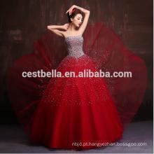 2017 New Design Luxuoso Heavy Beaded Sequins Crystal Red Royal Blue Party Prom Vestidos Vestido formal