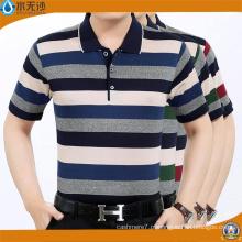 Fábrica 2017 Homens Stripe Camisas Polo Cotton Pique Camisas Polo