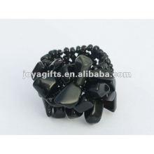 Black Onyx Chip pedra Esticar Seed Anéis de vidro anel
