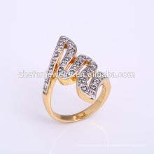 Nueva chapado en oro de 2 s letra n anillos de joyería