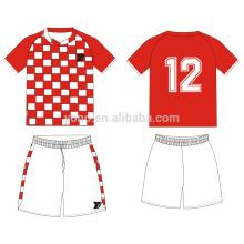 uniforme de fútbol juvenil sin logo jersey de fútbol blanco rojo en venta