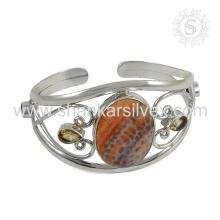 Kundenspezifisches multi Edelstein-Silberarmband 925 Sterlingsilber-Schmucksachehandgemachter Schmucksachegroßhändler