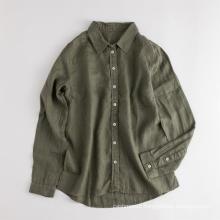 Eco-friendly Women's Long Sleeve Casual Linen Shirt Blouse