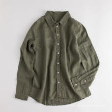 Blusa de camisa de lino casual de manga larga para mujer ecológica