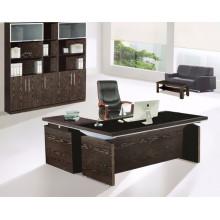 Mesa de escritório moderna de vidro temperado com melamina