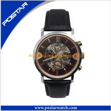 Fashion Automatic Watch Mechanical Watch with Geunine Leather Band
