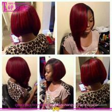 Цвет #1b/#99j бразильский длина парики волос 12 дюймов небольшой верхний слой продажа дешевые с коротким Боб стиль человеческих волос парик