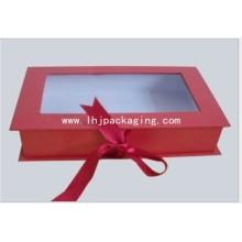 Caixa de papel cosméticos de forma de livro personalizado com janela