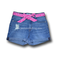 girls blue washed jeans shorts
