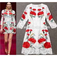 2016 Novas mulheres de meia idade vestido de moda Lady Dress flores impressas moda vestidos de mulheres