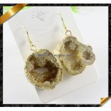 Boucles d'oreilles en pierres précieuses en argent sterling (FE069) en or plaqué or