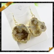 Позолоченные Драки агат камень мотаться серьги ювелирные изделия из драгоценных камней (FE069)