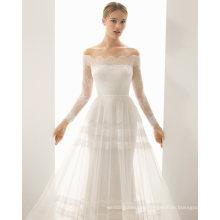 off-Shoulder Lace Tulle Wedding Dress
