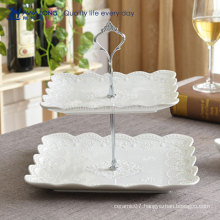 Square Shape Flower Pattern Pure White Fine Porcelain Fruit Plates For Weddings, Italian Ceramic Cake Plates