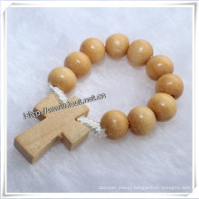 Wooden Beads Finger Rosary with Religious Wooden Rosary Cross (IO-CE003)