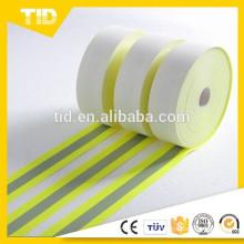 Lima Fluorescente, Prata 1 '', Tecido Refletivo Resistente a Chamas, Revestimento Nomex, 50 Ciclos de Lavagem Industrial