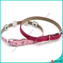 Collier de chat en cuir rose Shinny pour accessoires pour animaux de compagnie (PC16041402)