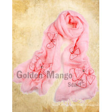 100% linen fashion scarf with embroidery