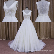 Floral DOT Tulle Sleeveless Lace Bridal Wedding Dress
