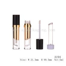 A194 5ml dos capas negro tapa transparente inferior vacío lipgloss tubo vacío lipgloss contenedores con aplicador