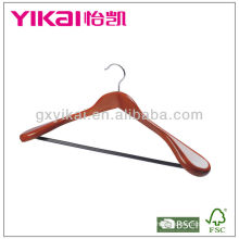 Cherry color wooden coat hanger with wide shoulders and round bar
