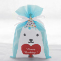 Borsa regalo in tessuto non tessuto Happy Dog blu