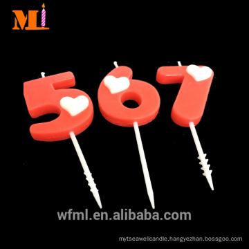 Highest Level Cake Decoration Custom Logo Birthday Red Number Candle