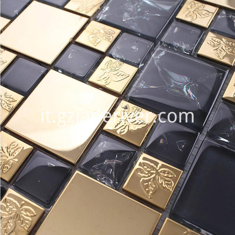 Black And Rose Gold Mosaic Tile