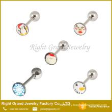 Santa Claus Logo Tongue Ring Barbell Body Jewelry Cute Tongue Bars Piercing