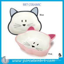 China Supply Fancy Ceramic Cat Shape Pet Dish