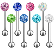 Tongue Piercing Barbell Jewelry Multi Ferido Crystal Ball Body Jewelry